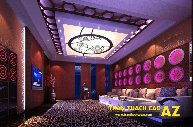 Mẫu trần thạch cao phòng karaoke đẹp cá tính, ấn tượng -07