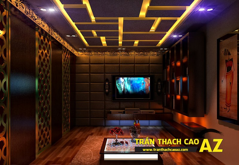 Mẫu trần thạch cao phòng karaoke đẹp cá tính, ấn tượng -11