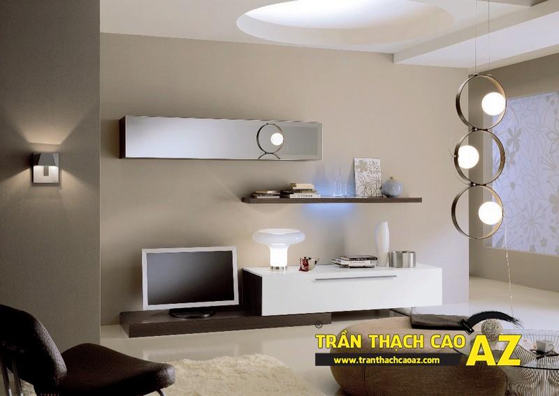 Mẫu trần thạch cao phòng khách đẹp cho không gian nhỏ, và cực nhỏ 06