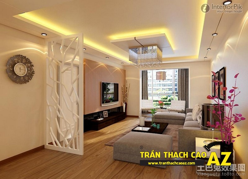 Mẫu trần thạch cao phòng khách đẹp cho không gian nhỏ, và cực nhỏ 18