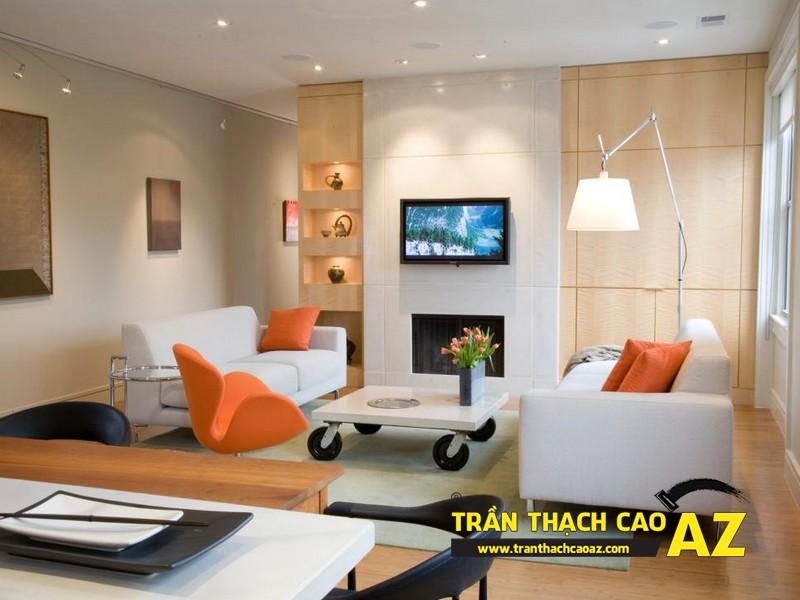 Mẫu trần thạch cao phòng khách đẹp cho không gian nhỏ, và cực nhỏ 02