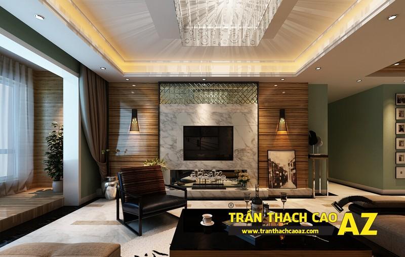 Mẫu trần thạch cao phòng khách đẹp mê ly 08