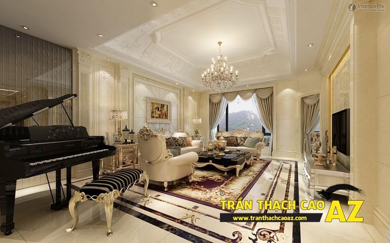 Mẫu trần thạch cao phòng khách đẹp mê ly 04