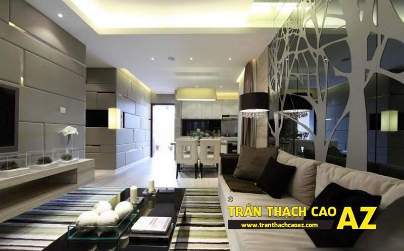 Mở rộng không gian nhà nhỏ với trần thạch cao phòng khách liền bếp 07