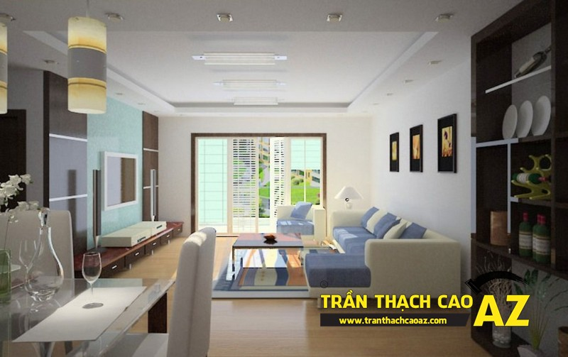 Mở rộng không gian nhà nhỏ với trần thạch cao phòng khách liền bếp 05