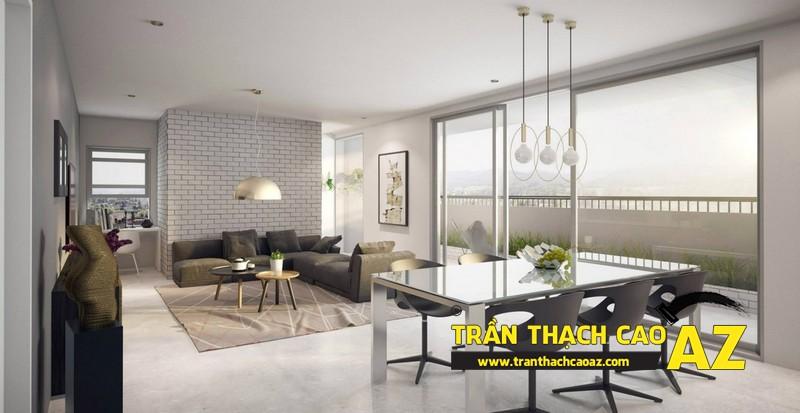 Mở rộng không gian nhà nhỏ với trần thạch cao phòng khách liền bếp 01