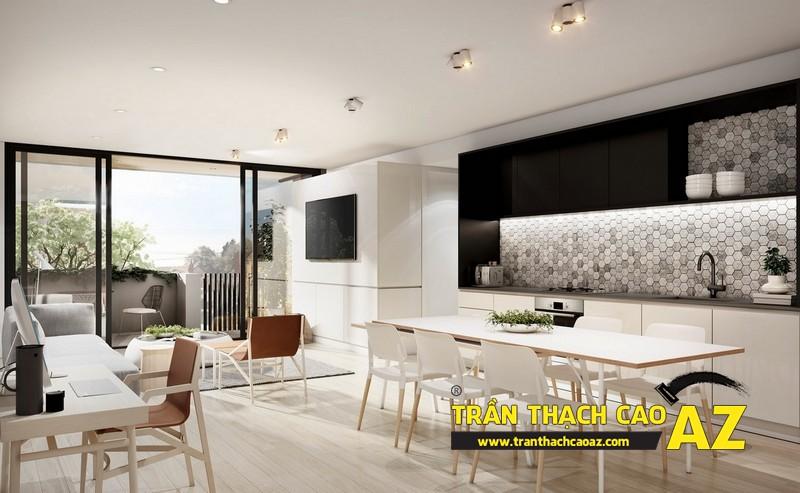 Mở rộng không gian nhà nhỏ với trần thạch cao phòng khách liền bếp 02