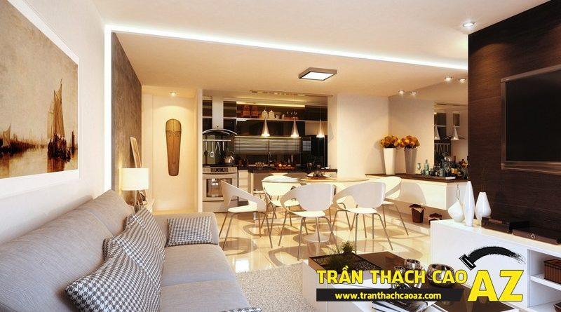 Mở rộng không gian nhà nhỏ với trần thạch cao phòng khách liền bếp