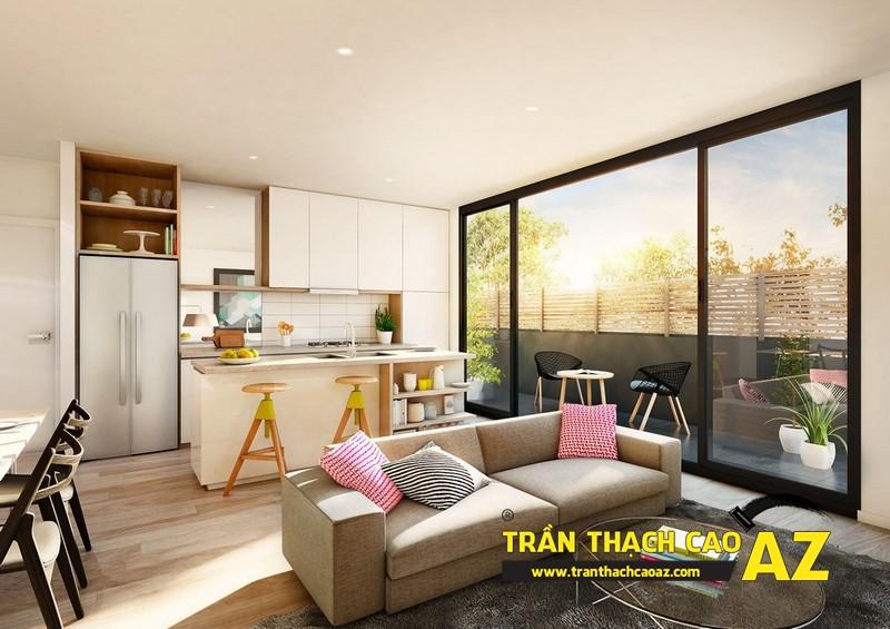 Mở rộng không gian nhà nhỏ với trần thạch cao phòng khách liền bếp 03