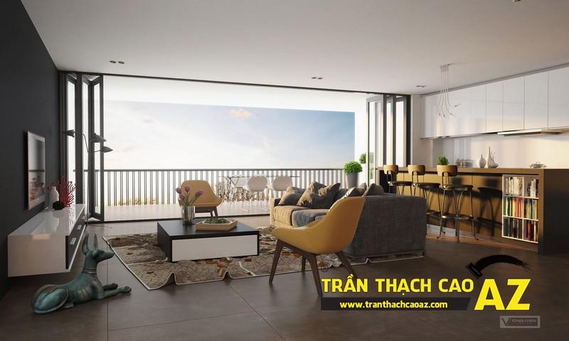 Mở rộng không gian nhà nhỏ với trần thạch cao phòng khách liền bếp 04