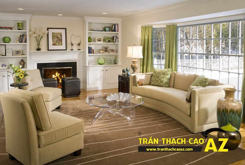 Nhà nhỏ đẹp nổi bật nhờ kết hợp trần thạch cao phẳng và phào chỉ 03