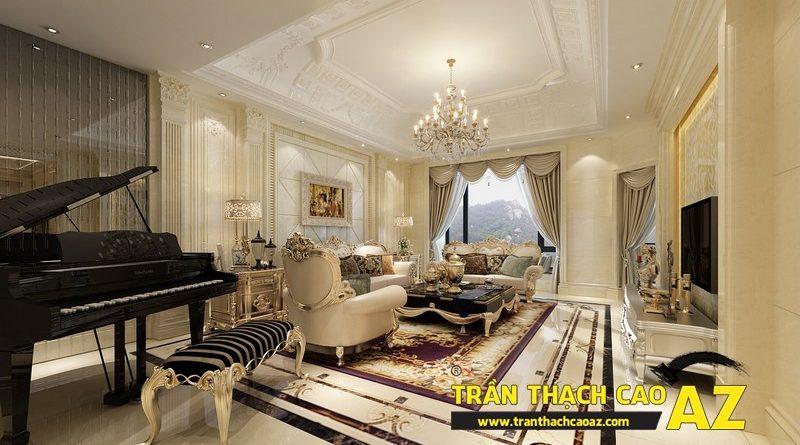 Nhà nhỏ đẹp nổi bật nhờ kết hợp trần thạch cao phẳng và phào chỉ