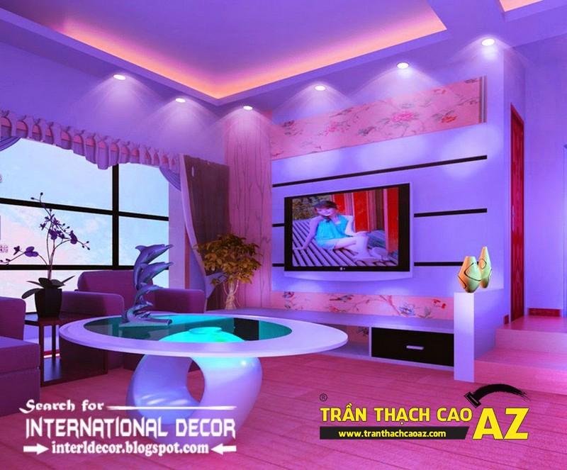 Phòng khách đẹp lung linh nhờ thiết kế trần thạch cao đa màu sắc 01