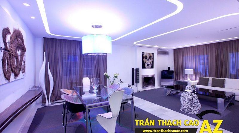 Phòng khách đẹp lung linh nhờ thiết kế trần thạch cao đa màu sắc