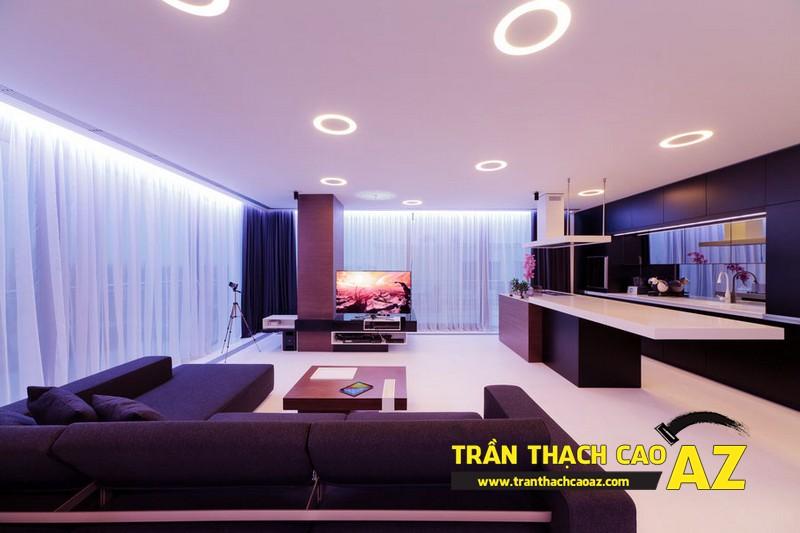 Phòng khách đẹp lung linh nhờ thiết kế trần thạch cao đa màu sắc 02