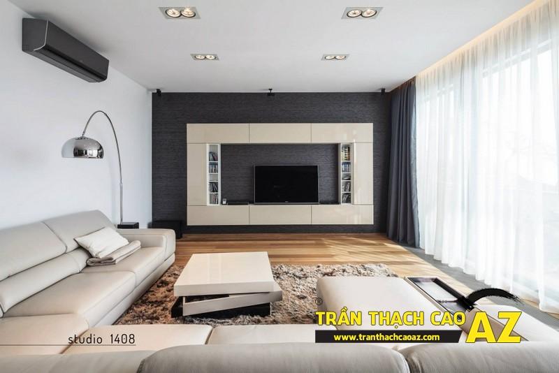 Phòng khách nhỏ đẹp hiện đại với trần thạch cao phẳng kết hợp đèn led 03