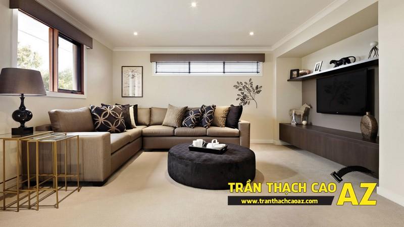 Phòng khách nhỏ đẹp hiện đại với trần thạch cao phẳng kết hợp đèn led 05