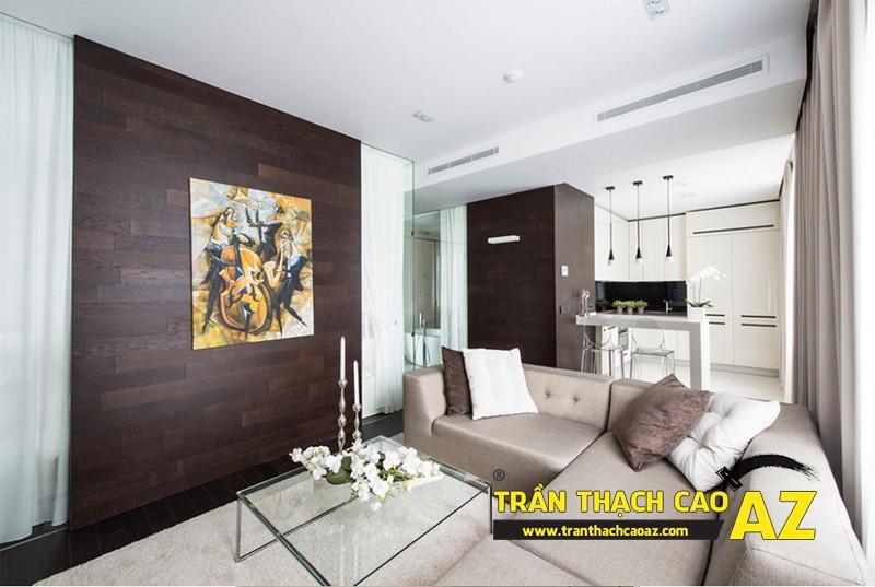 Phòng khách nhỏ đẹp hiện đại với trần thạch cao phẳng kết hợp đèn led 01
