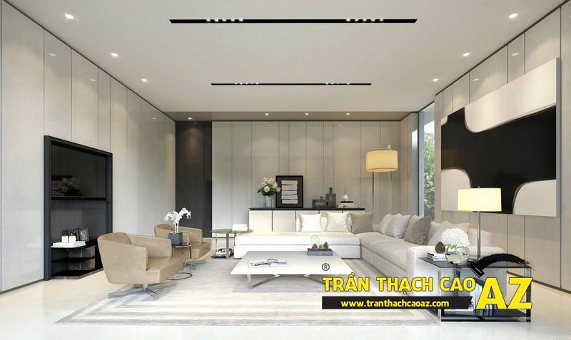 Phòng khách nhỏ đẹp hiện đại với trần thạch cao phẳng kết hợp đèn led 02