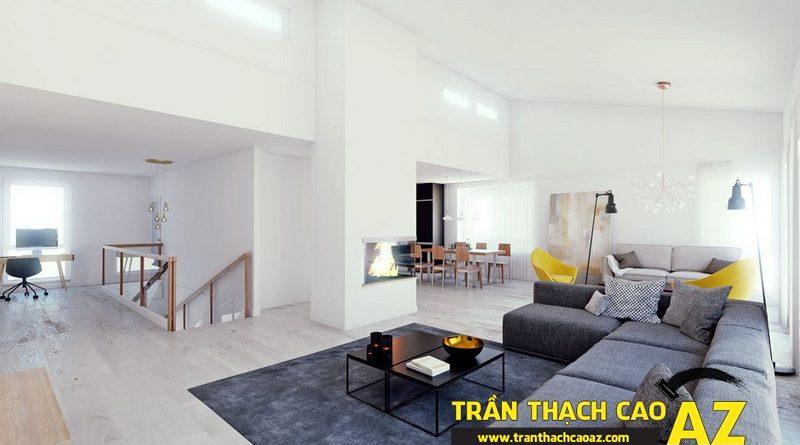 Phòng khách nhỏ đẹp hiện đại với trần thạch cao phẳng kết hợp đèn led