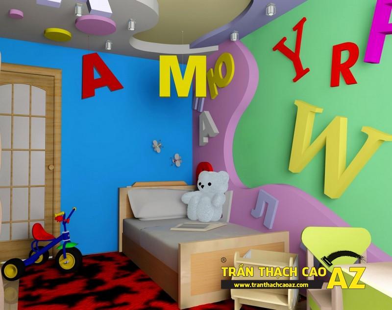 Không gian phòng ngủ trẻ em cực sinh động nhờ tạo hình trần thạch cao 02