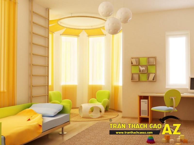 Không gian phòng ngủ trẻ em cực sinh động nhờ tạo hình trần thạch cao 04