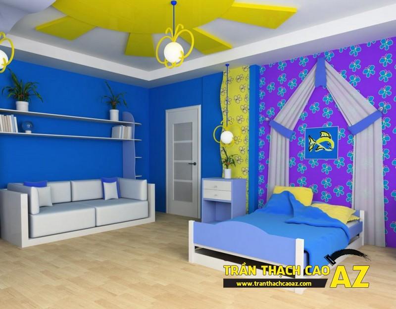 Không gian phòng ngủ trẻ em cực sinh động nhờ tạo hình trần thạch cao 05