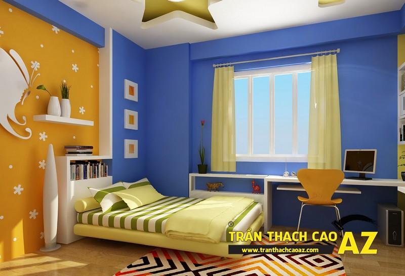 Không gian phòng ngủ trẻ em cực sinh động nhờ tạo hình trần thạch cao 03