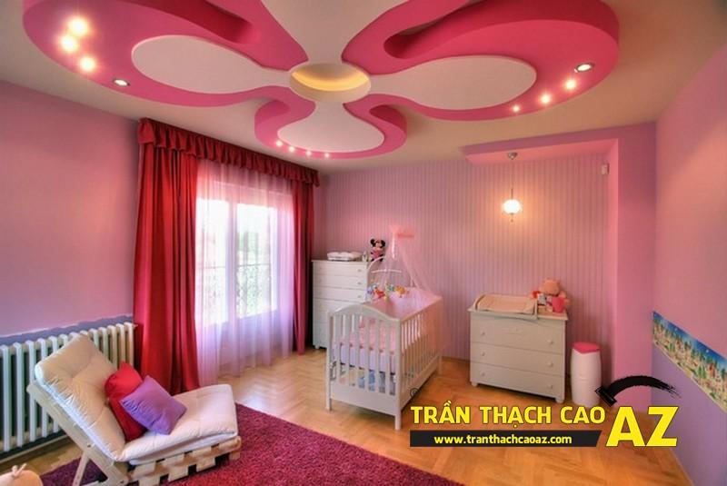 Không gian phòng ngủ trẻ em cực sinh động nhờ tạo hình trần thạch cao 01