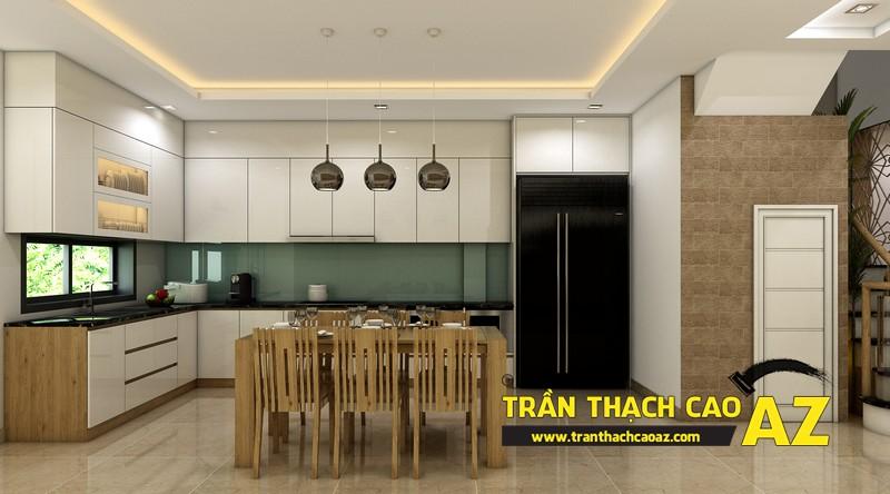Thiết kế trần thạch cao nhà ống đẹp dành cho phòng bếp của gia đình anh Hoàng 03