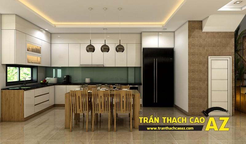 Thiết kế trần thạch cao nhà ống đẹp dành cho phòng bếp của gia đình anh Hoàng 02