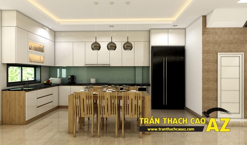 Thiết kế trần thạch cao nhà ống đẹp dành cho phòng bếp của gia đình anh Hoàng 01