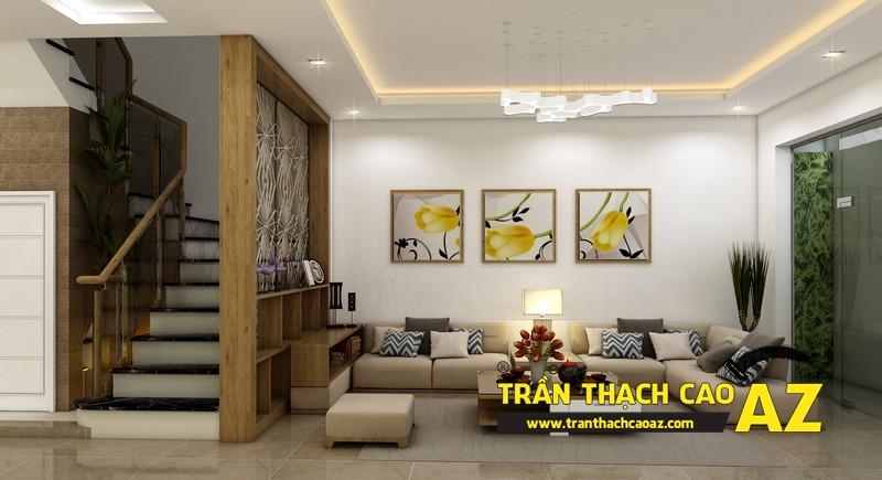 Thiết kế trần thạch cao nhà ống đẹp dành cho phòng khách của gia đình anh Hoàng