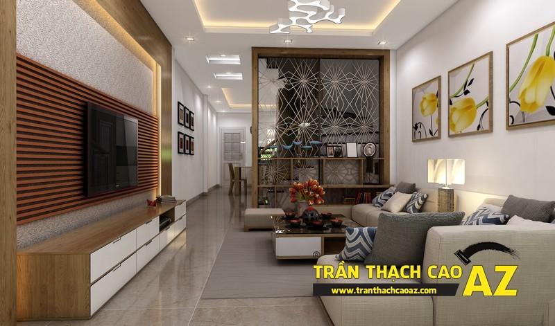 Phương án thiết kế trần thạch cao nhà ống đẹp của gia đình anh Hoàng