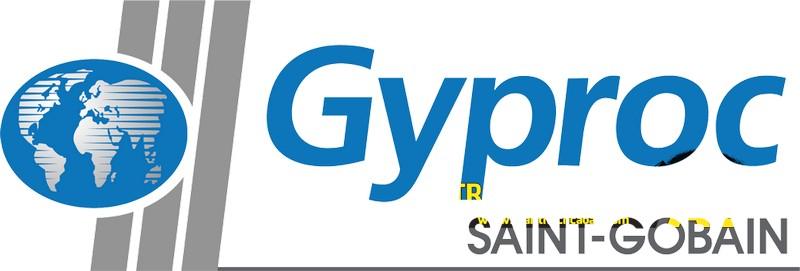 Logo thương hiệu chung của Gyproc (ở tấm thạch cao chống cháy logo in màu đỏ trên phần lưng)