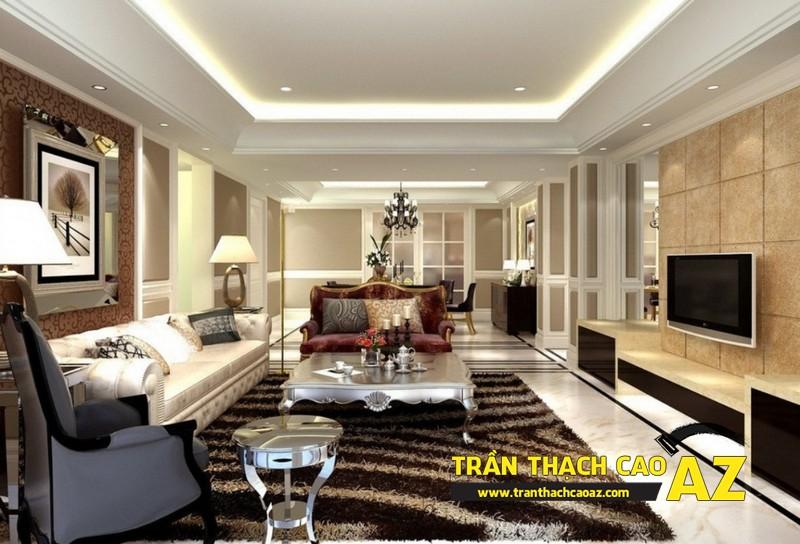 Tăng độ ấn tượng của phòng khách đẹp nhờ trần thạch cao giật cấp 03