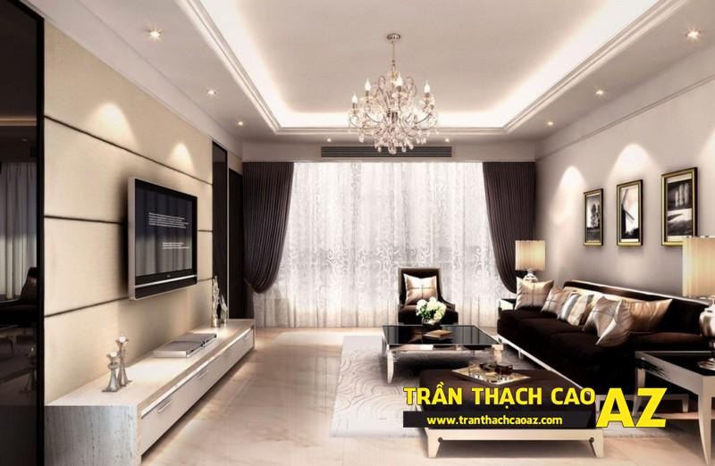 Tăng độ ấn tượng của phòng khách đẹp nhờ trần thạch cao giật cấp 02