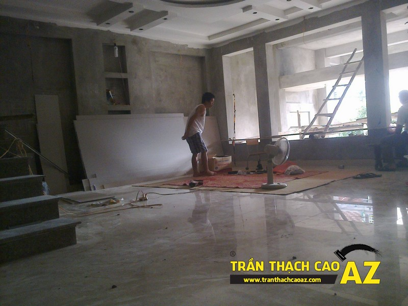 Thi công trần thạch cao cho nhà chú Tuấn tại Thượng Cát, Bắc Từ Liêm, Hà Nội
