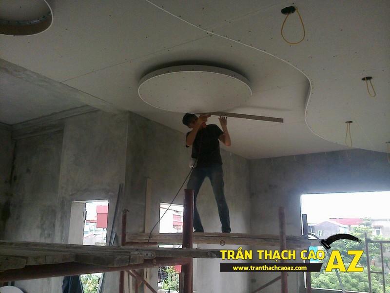 Thi công trần thạch cao nhà anh Đạt tại Gia Lâm, Hà Nội