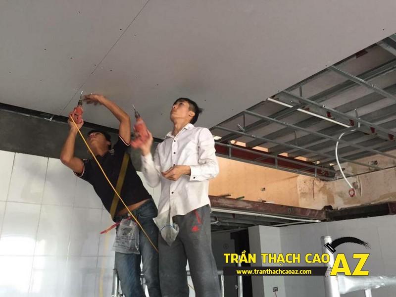 Hoàn thiện thiết kế trần thạch cao của nhà hàng Lẩu Nấm của anh Hà 01