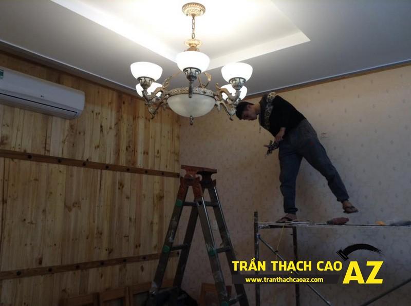 Hoàn thiện thiết kế trần thạch cao của nhà hàng Lẩu Nấm của anh Hà 04