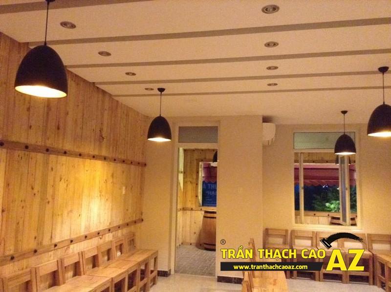 Hoàn thiện thiết kế trần thạch cao của nhà hàng Lẩu Nấm của anh Hà 07