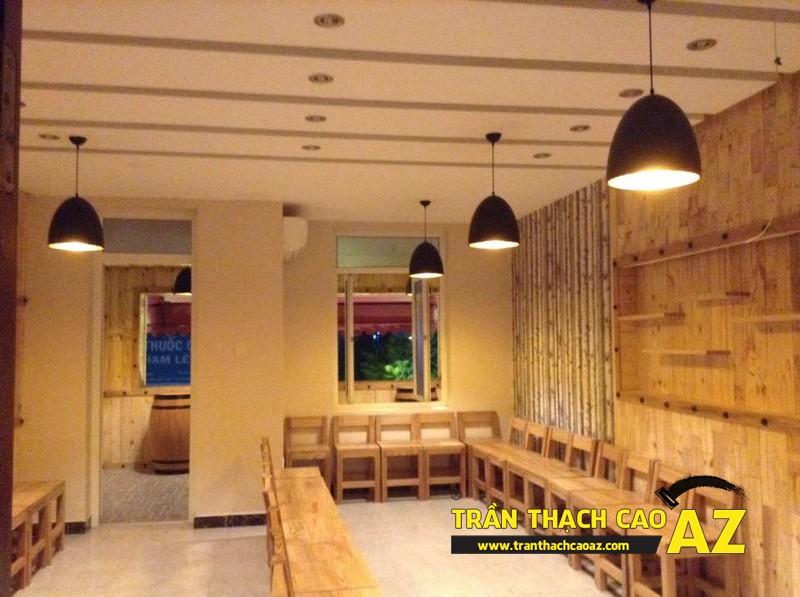 Hoàn thiện thiết kế trần thạch cao của nhà hàng Lẩu Nấm của anh Hà 06