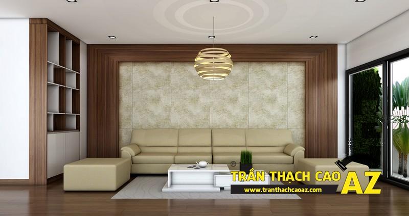 Phương án thiết kế trần thạch cao phòng khách đẹp hiện đại 02