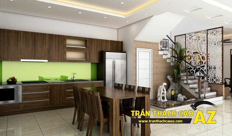 Phương án thiết kế trần thạch cao phòng bếp đẹp hiện đại, đơn giản