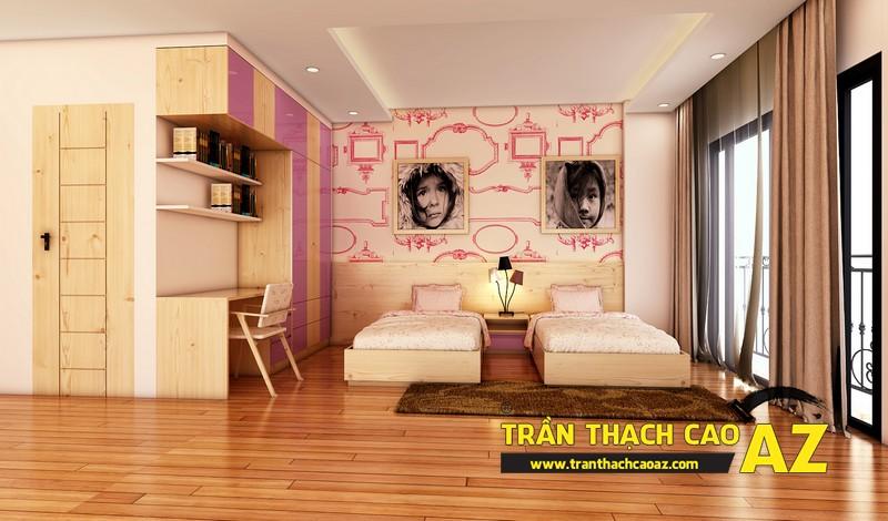 Phương án thiết kế trần thạch cao phòng ngủ dành cho 2 con gái nhỏ chị Đào 02