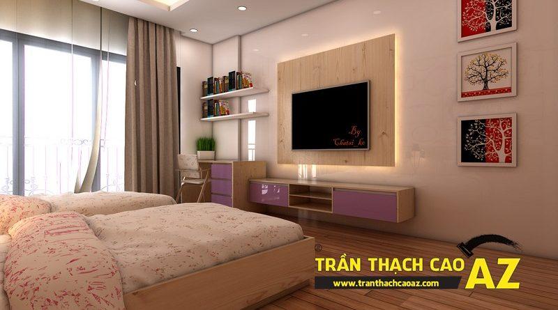 Thiết kế trần thạch cao nhà ống đẹp hiện đại nhà chị Đào, ngõ Gốc Đề, Minh Khai