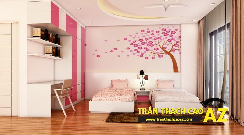 Phương án thiết kế trần thạch cao phòng ngủ dành cho 2 con gái nhỏ chị Đào 01