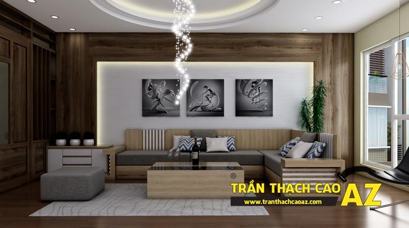 Phương án thiết kế trần thạch cao đẹp hiện đại, bắt mắt dành cho phòng khách 01