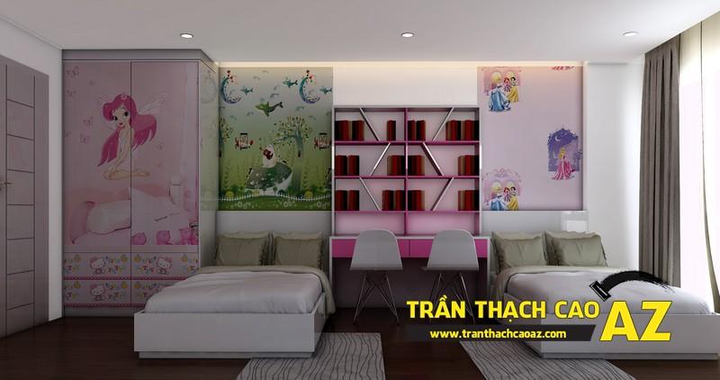Phương án thiết kế trần thạch cao đẹp hiện đại, bắt mắt dành cho phòng ngủ trẻ em